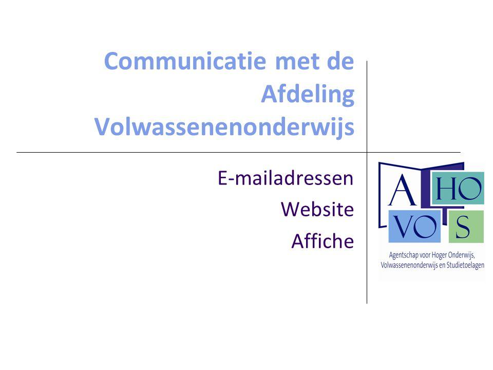 Communicatie met de Afdeling Volwassenenonderwijs
