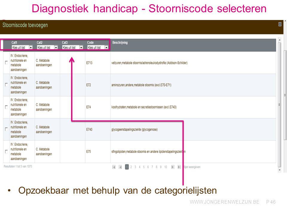 Diagnostiek handicap - Stoorniscode selecteren