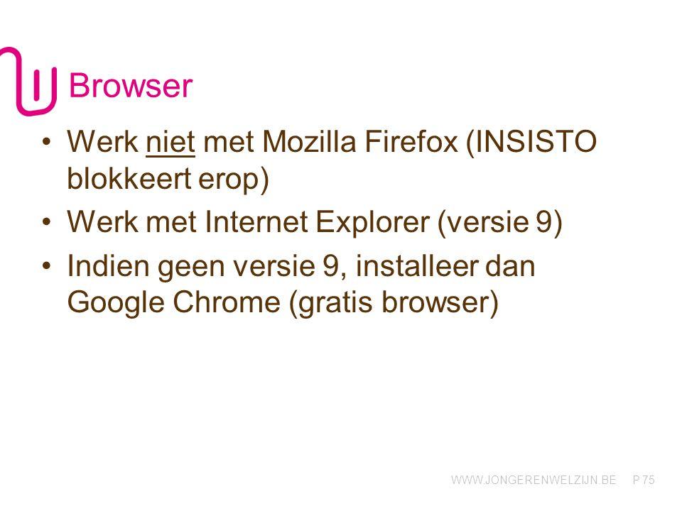 Browser Werk niet met Mozilla Firefox (INSISTO blokkeert erop)