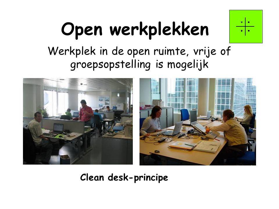 Werkplek in de open ruimte, vrije of groepsopstelling is mogelijk