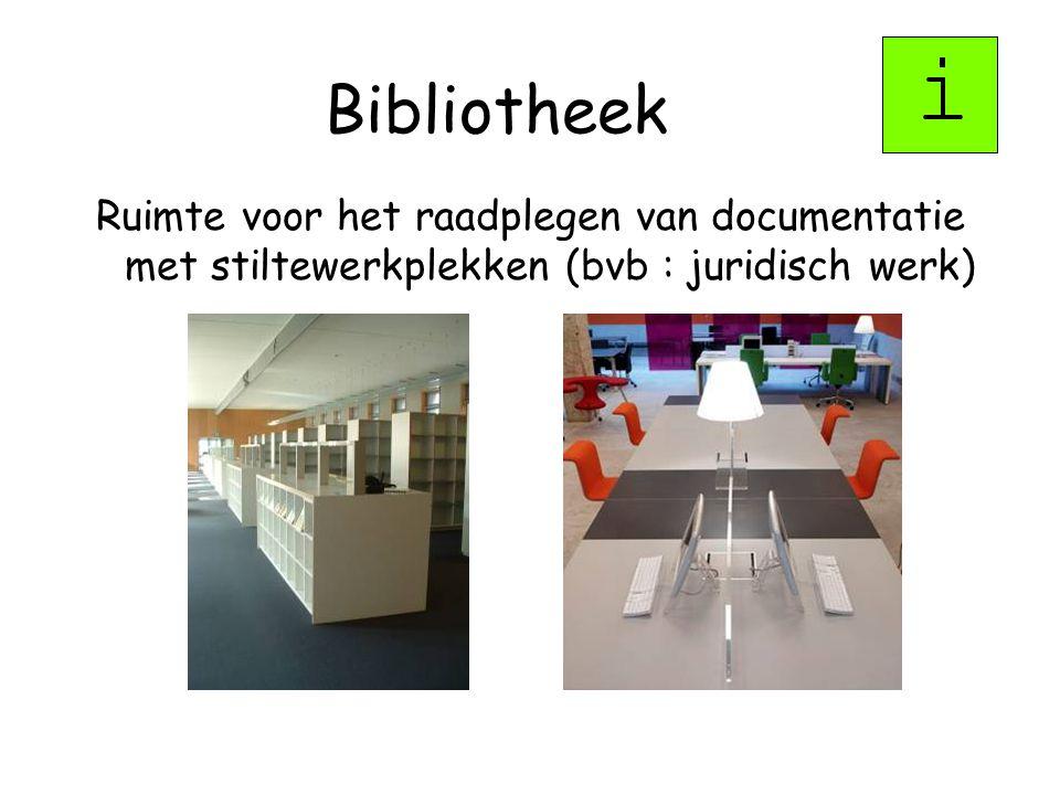 Bibliotheek Ruimte voor het raadplegen van documentatie met stiltewerkplekken (bvb : juridisch werk)