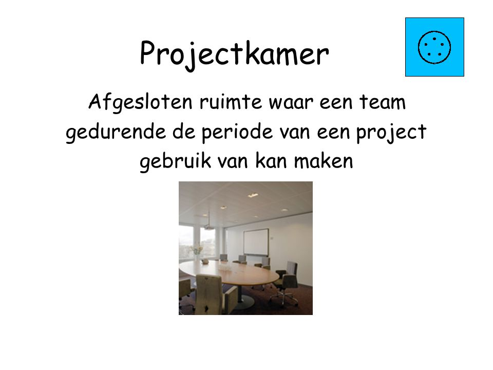 Projectkamer Afgesloten ruimte waar een team