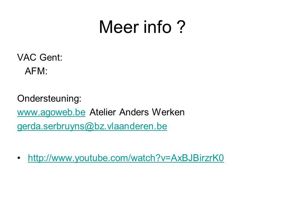 Meer info VAC Gent: AFM: Ondersteuning: