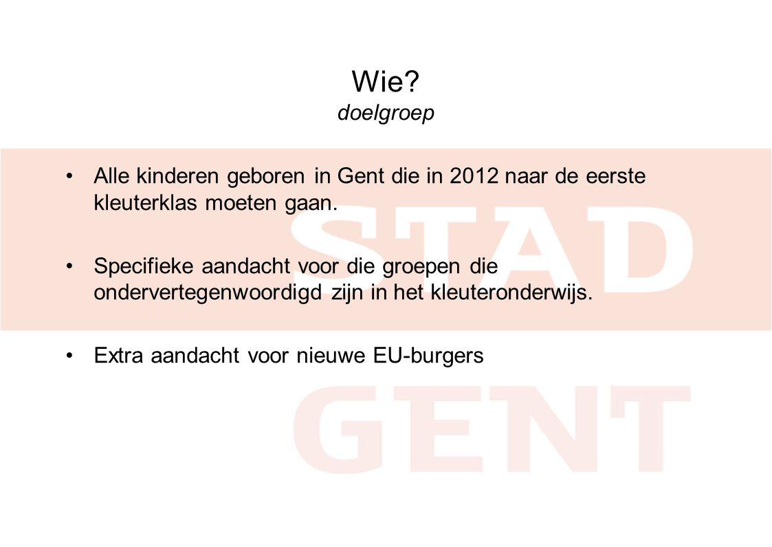 Wie doelgroep Alle kinderen geboren in Gent die in 2012 naar de eerste kleuterklas moeten gaan.