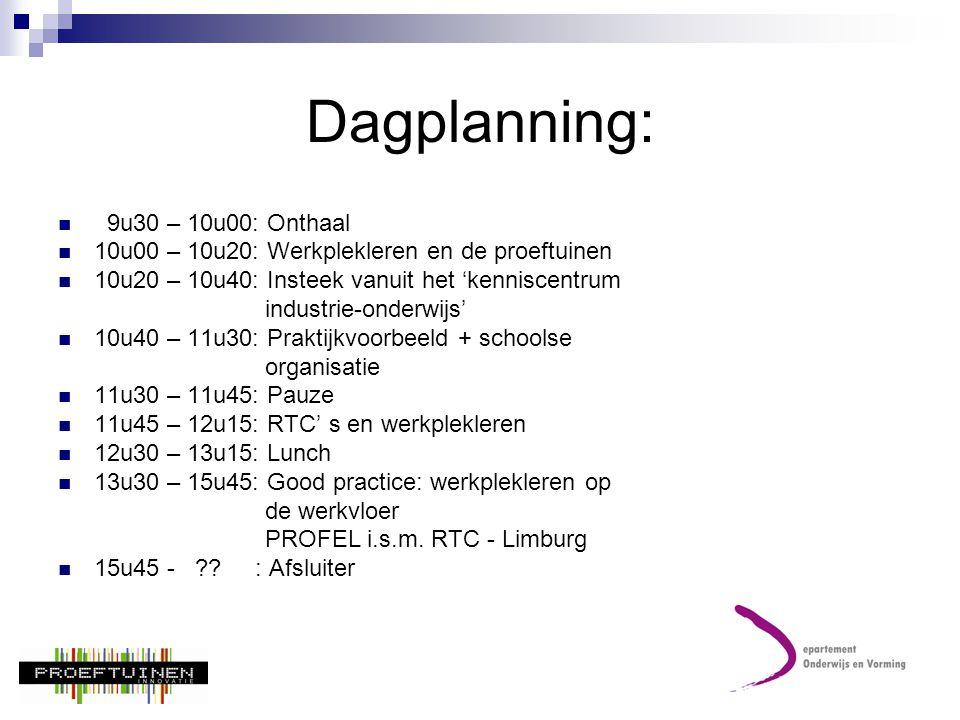 Dagplanning: 9u30 – 10u00: Onthaal
