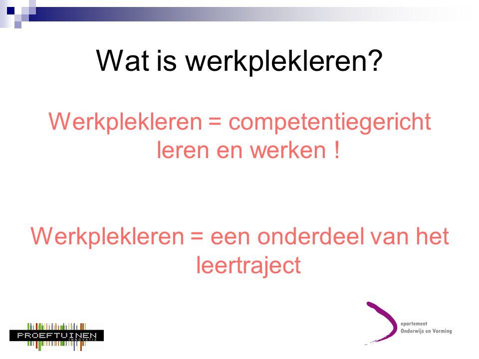 Wat is werkplekleren. Werkplekleren = competentiegericht leren en werken .