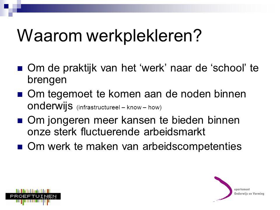 Waarom werkplekleren Om de praktijk van het 'werk' naar de 'school' te brengen.
