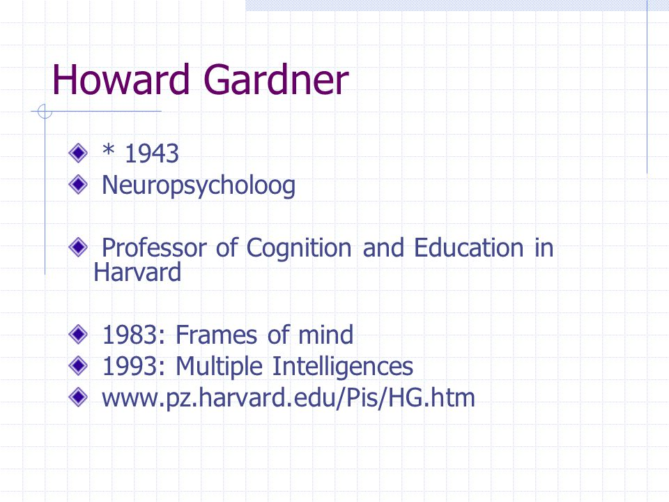Howard Gardner * 1943 Neuropsycholoog