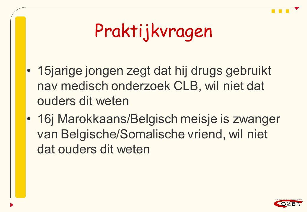 Praktijkvragen 15jarige jongen zegt dat hij drugs gebruikt nav medisch onderzoek CLB, wil niet dat ouders dit weten.