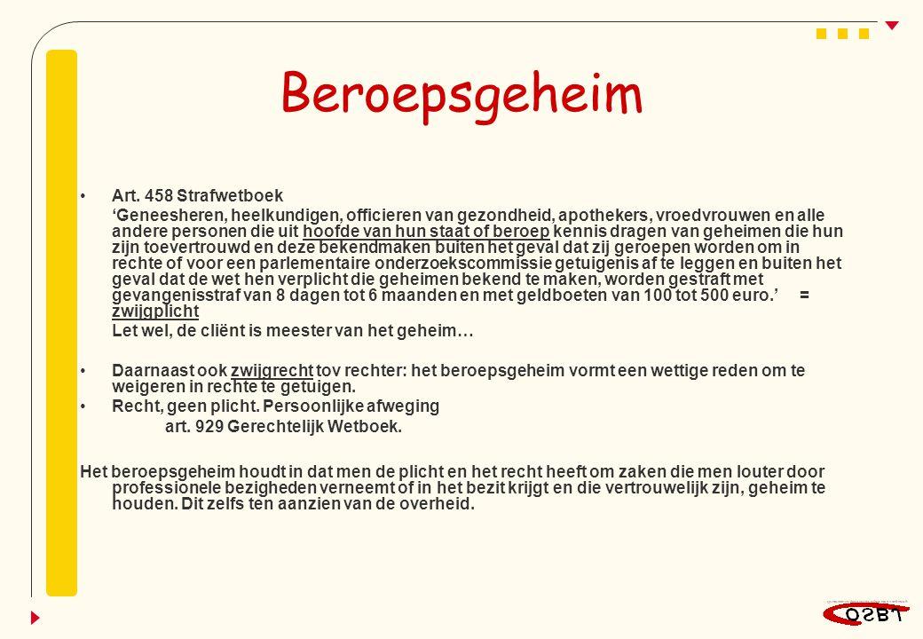 Beroepsgeheim Art. 458 Strafwetboek