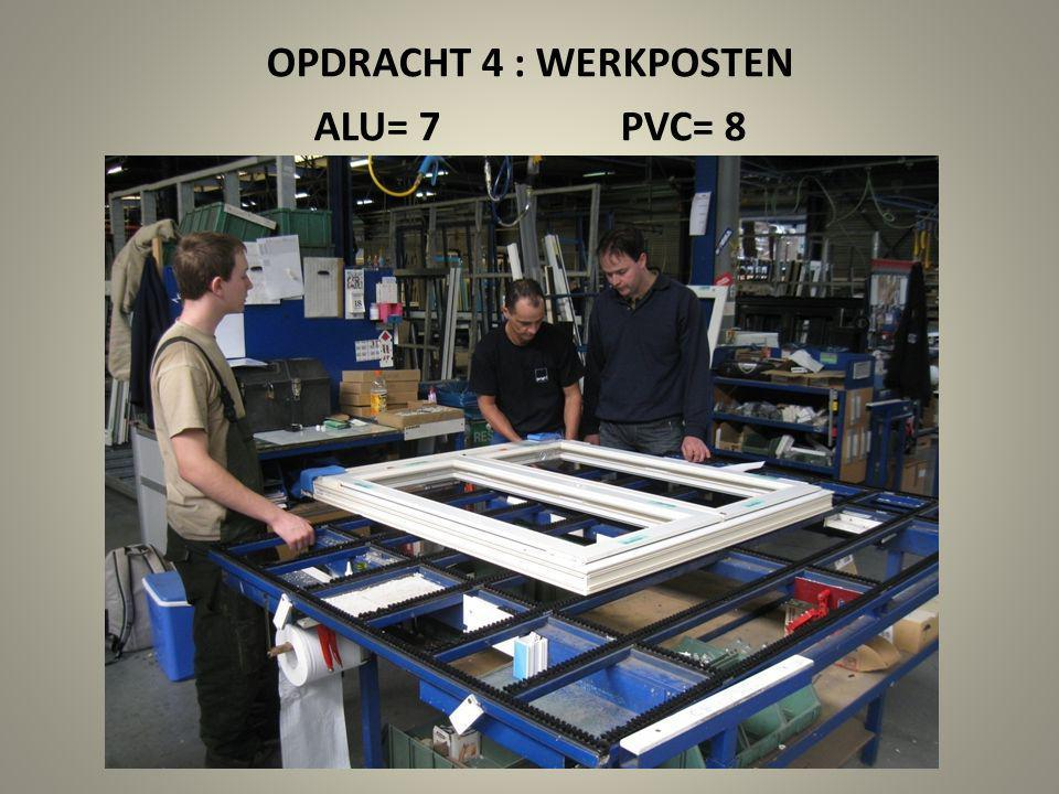 OPDRACHT 4 : WERKPOSTEN ALU= 7 PVC= 8