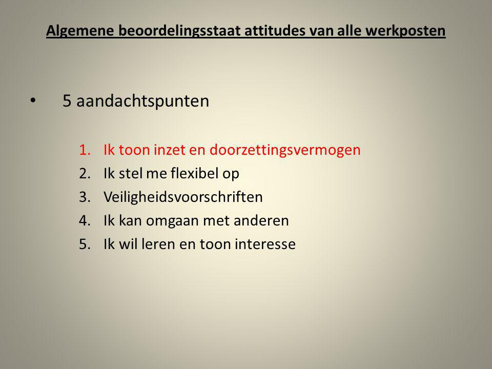 Algemene beoordelingsstaat attitudes van alle werkposten