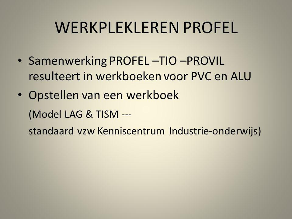 WERKPLEKLEREN PROFEL Samenwerking PROFEL –TIO –PROVIL resulteert in werkboeken voor PVC en ALU. Opstellen van een werkboek.