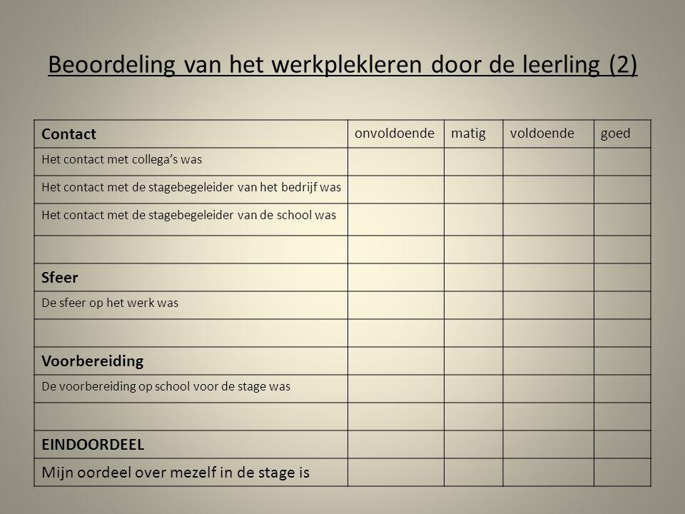 Beoordeling van het werkplekleren door de leerling (2)