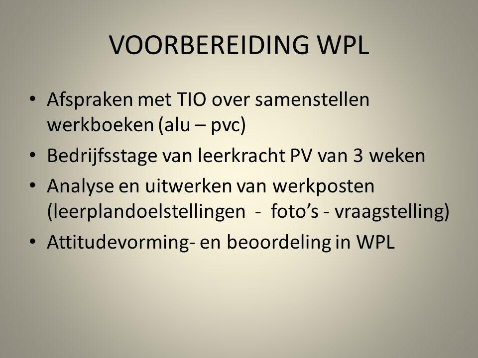 VOORBEREIDING WPL Afspraken met TIO over samenstellen werkboeken (alu – pvc) Bedrijfsstage van leerkracht PV van 3 weken.