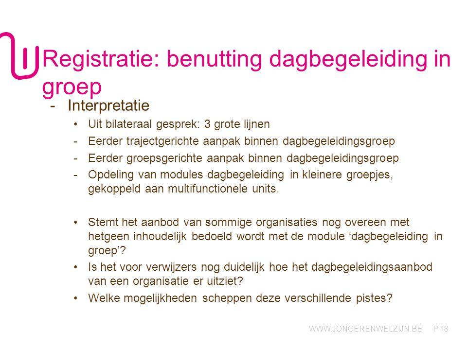 Registratie: benutting dagbegeleiding in groep