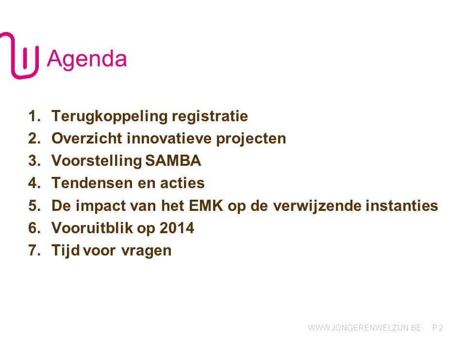 Agenda Terugkoppeling registratie Overzicht innovatieve projecten