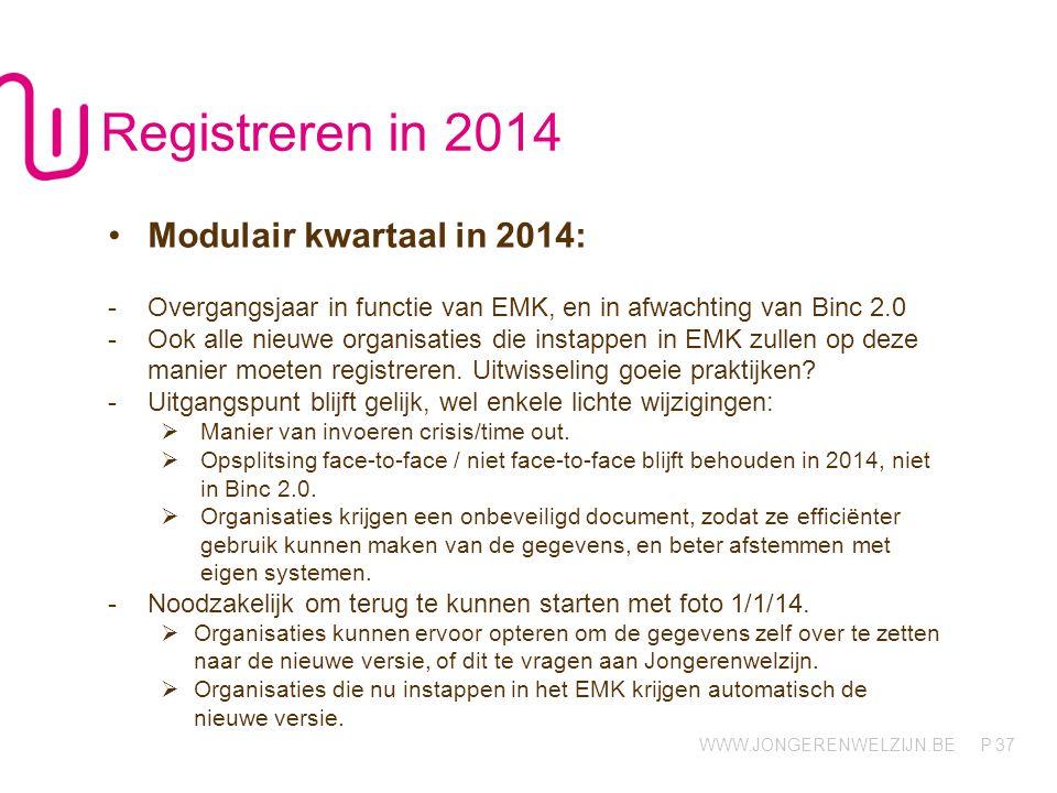 Registreren in 2014 Modulair kwartaal in 2014: