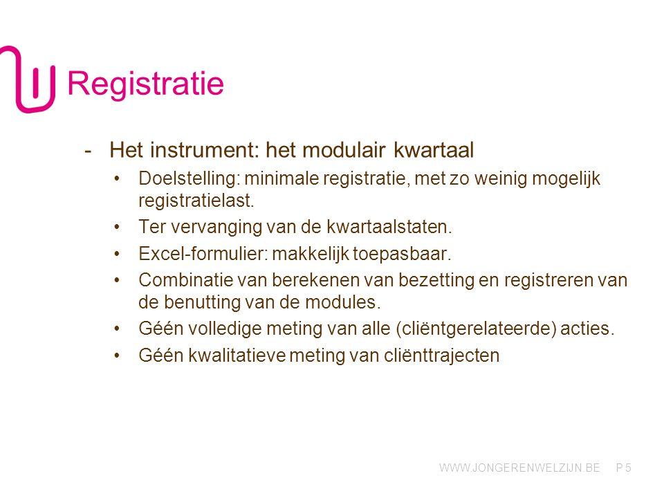 Registratie Het instrument: het modulair kwartaal