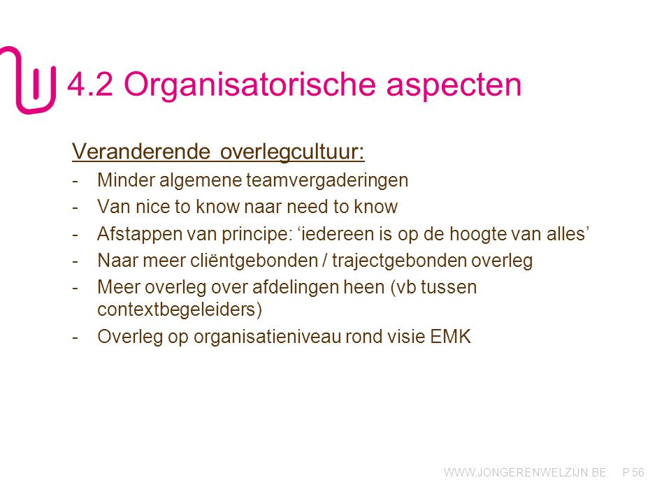 4.2 Organisatorische aspecten