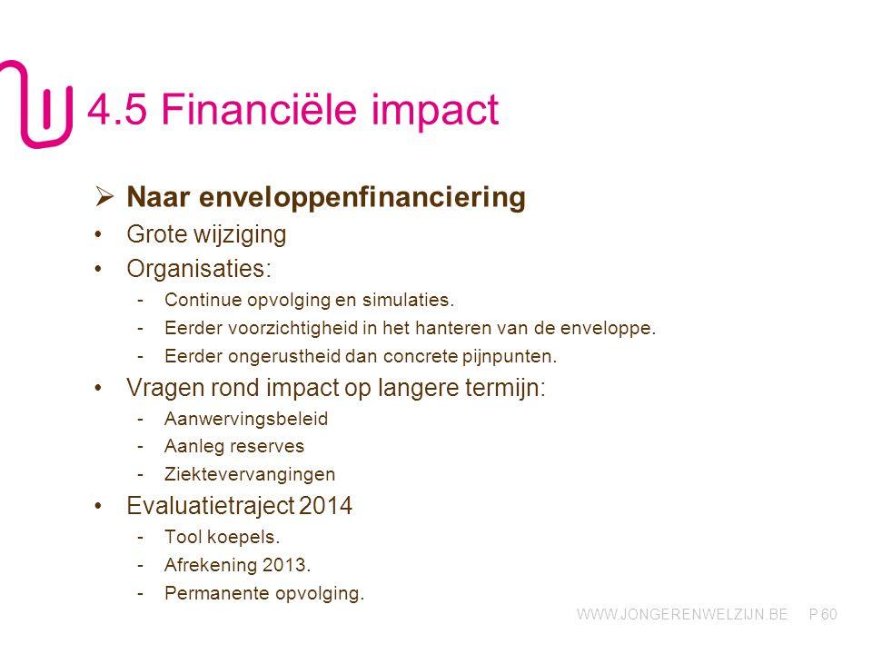 4.5 Financiële impact Naar enveloppenfinanciering Grote wijziging