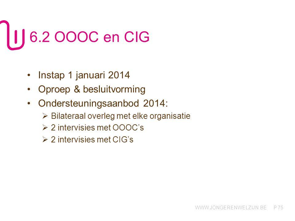 6.2 OOOC en CIG Instap 1 januari 2014 Oproep & besluitvorming