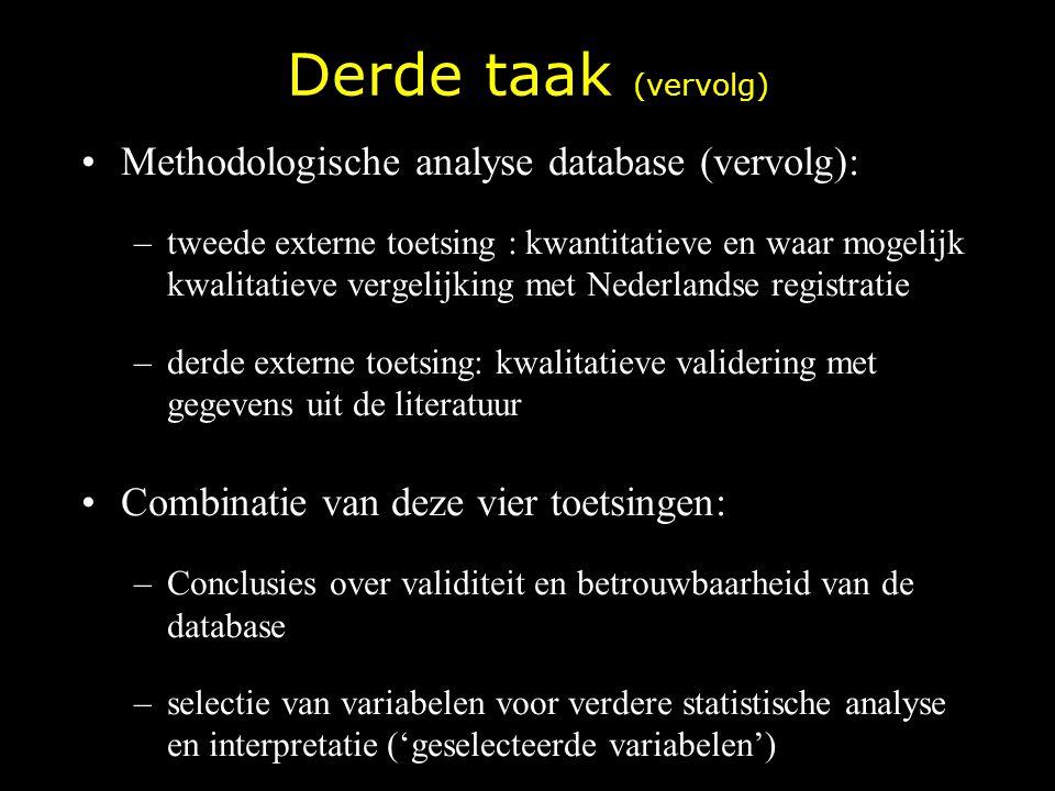 Derde taak (vervolg) Methodologische analyse database (vervolg):