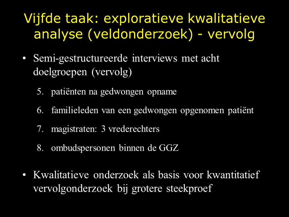 Vijfde taak: exploratieve kwalitatieve analyse (veldonderzoek) - vervolg
