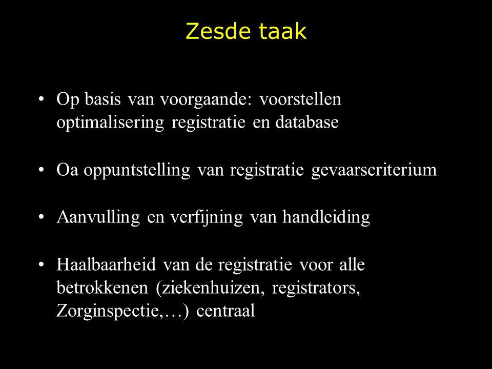 Zesde taak Op basis van voorgaande: voorstellen optimalisering registratie en database. Oa oppuntstelling van registratie gevaarscriterium.