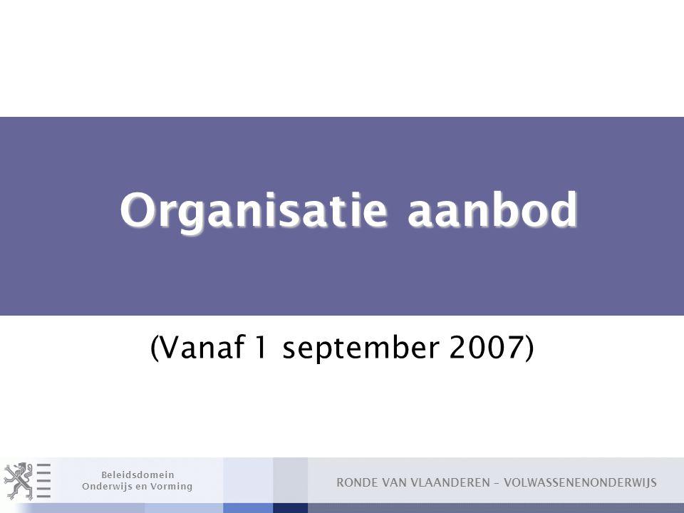 Organisatie aanbod (Vanaf 1 september 2007)