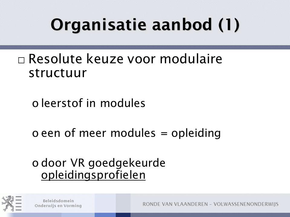 Organisatie aanbod (1) Resolute keuze voor modulaire structuur