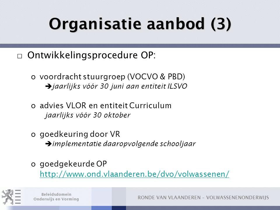 Organisatie aanbod (3) Ontwikkelingsprocedure OP: