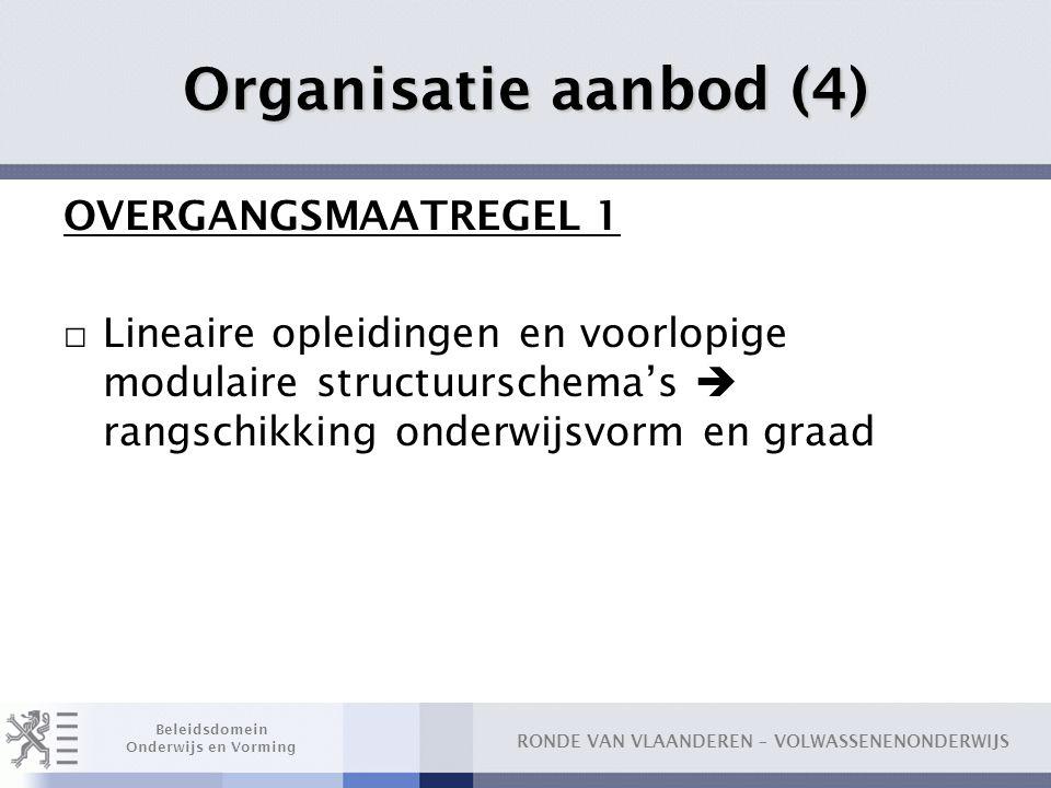Organisatie aanbod (4) OVERGANGSMAATREGEL 1