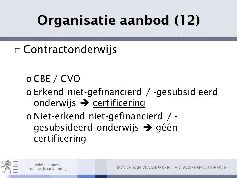 Organisatie aanbod (12) Contractonderwijs CBE / CVO
