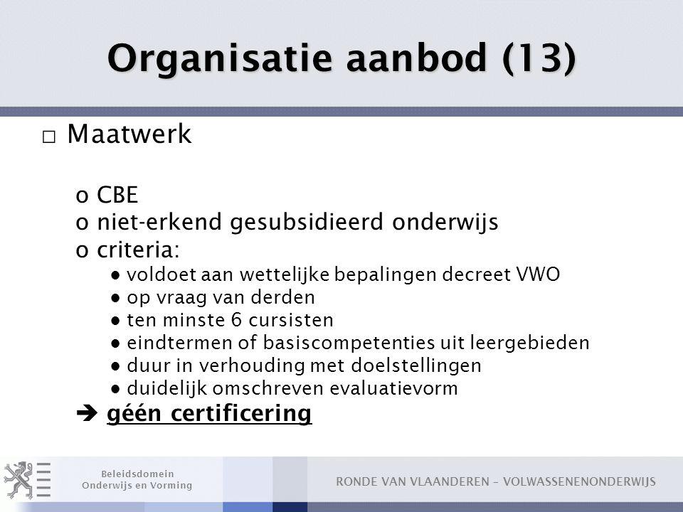 Organisatie aanbod (13) Maatwerk CBE