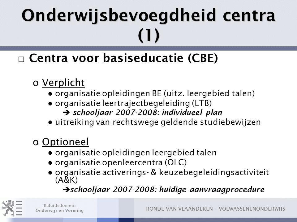 Onderwijsbevoegdheid centra (1)