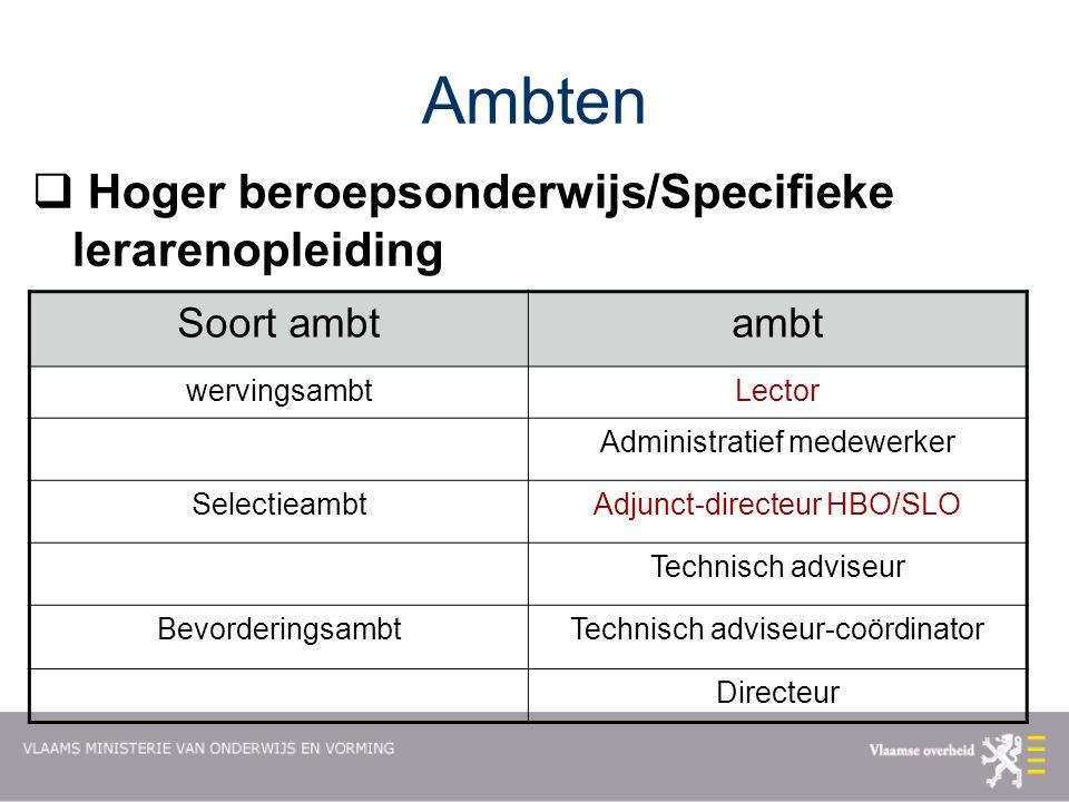 Ambten Hoger beroepsonderwijs/Specifieke lerarenopleiding Soort ambt
