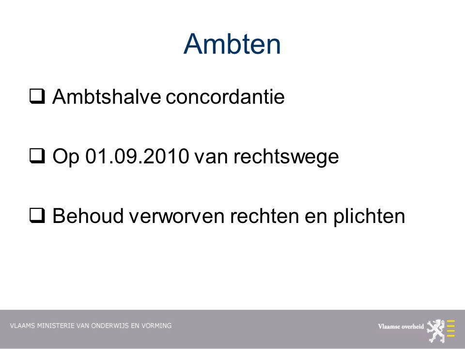 Ambten Ambtshalve concordantie Op 01.09.2010 van rechtswege