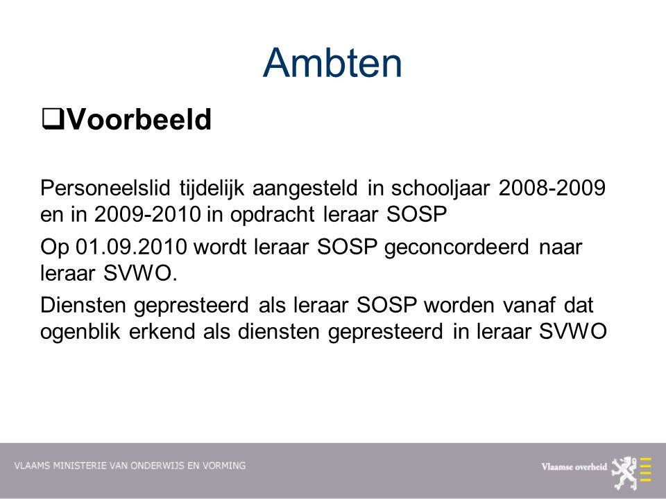 Ambten Voorbeeld. Personeelslid tijdelijk aangesteld in schooljaar 2008-2009 en in 2009-2010 in opdracht leraar SOSP.
