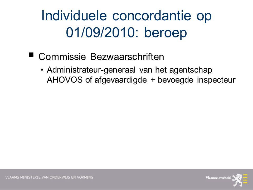 Individuele concordantie op 01/09/2010: beroep