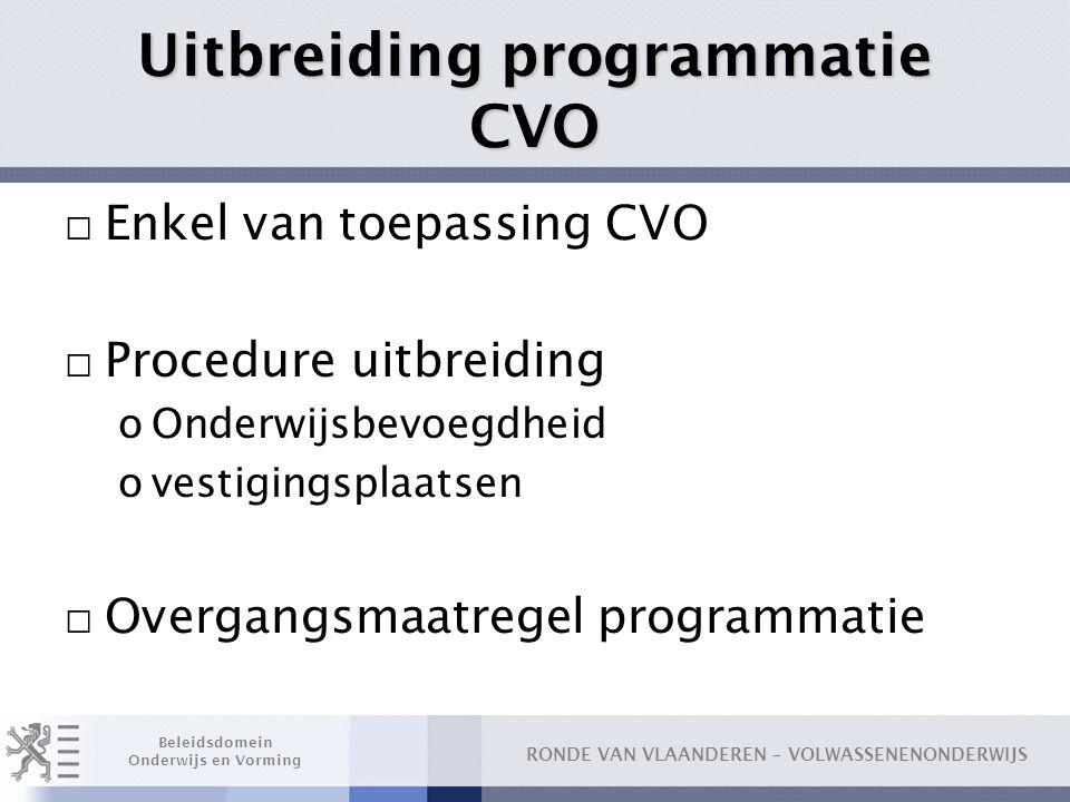 Uitbreiding programmatie CVO