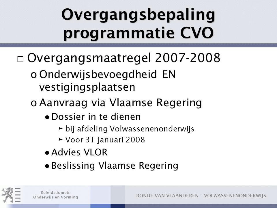 Overgangsbepaling programmatie CVO