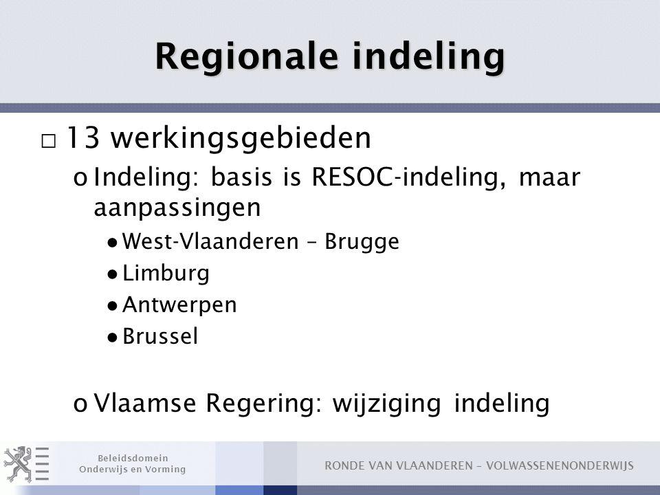Regionale indeling 13 werkingsgebieden