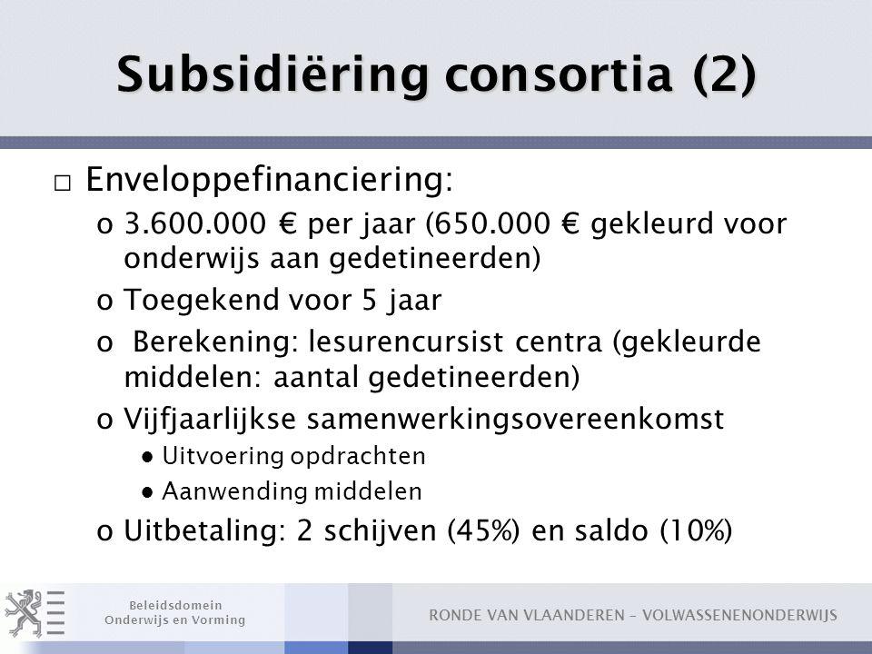 Subsidiëring consortia (2)