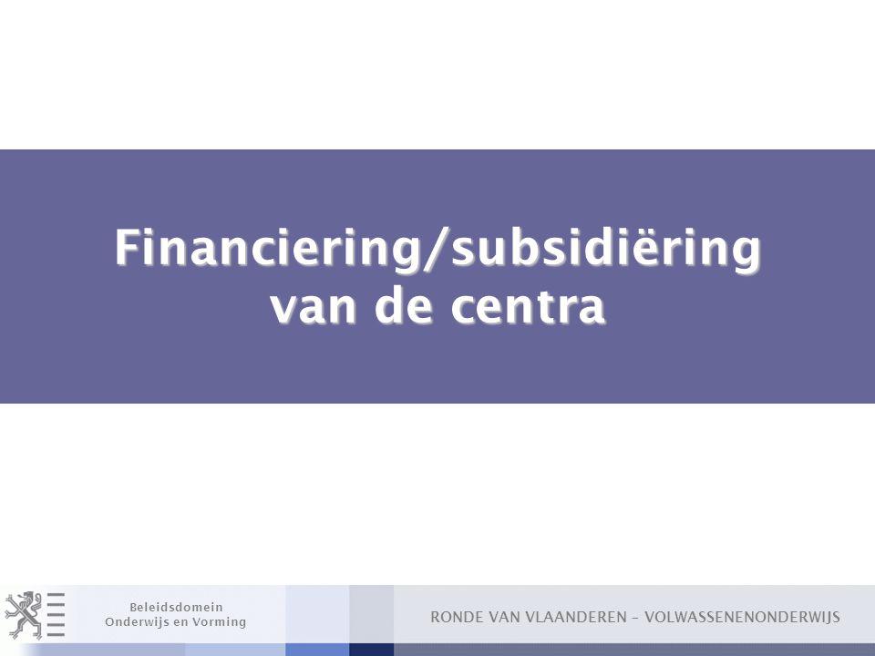 Financiering/subsidiëring van de centra