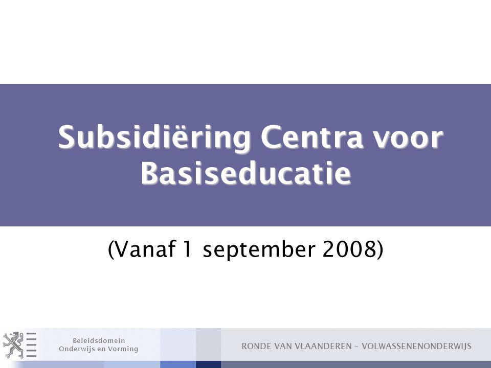 Subsidiëring Centra voor Basiseducatie