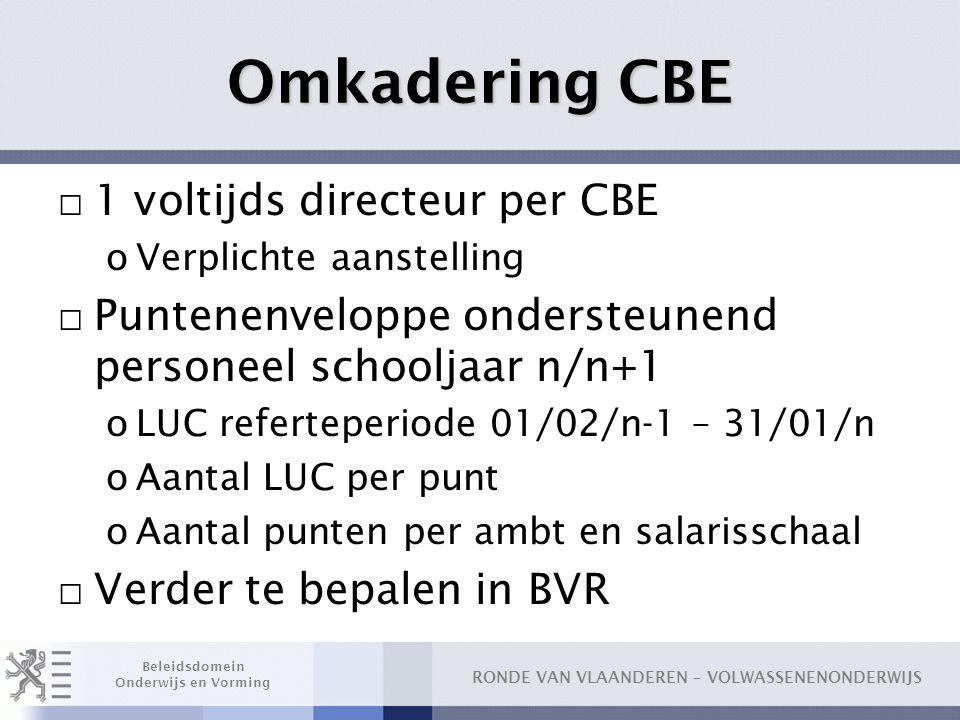 Omkadering CBE 1 voltijds directeur per CBE