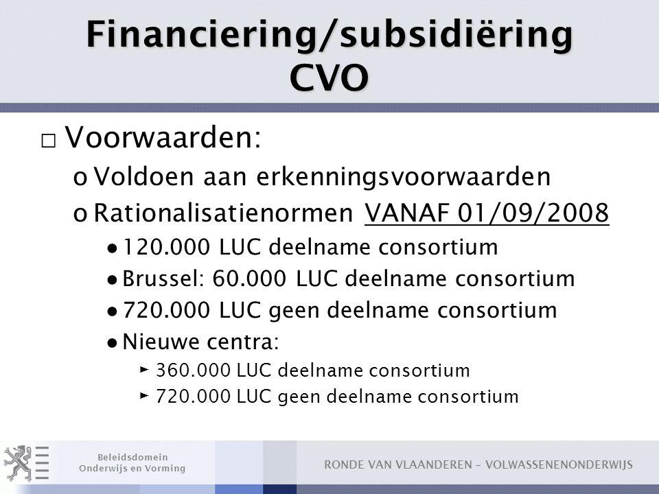 Financiering/subsidiëring CVO