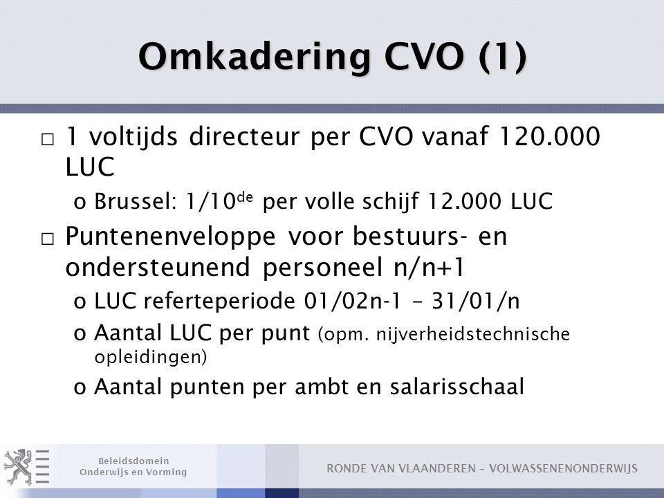 Omkadering CVO (1) 1 voltijds directeur per CVO vanaf 120.000 LUC