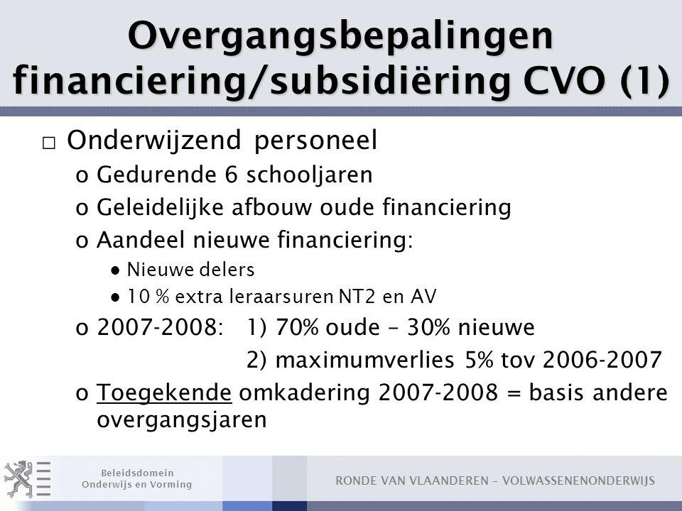 Overgangsbepalingen financiering/subsidiëring CVO (1)